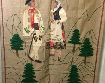 A vintage ethnic wall hanging hand stitched/handmade