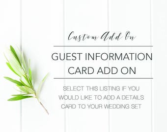 ADD ON Additional Insert Cards for Details About My Wedding