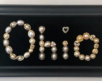 """Vintage & Costume Jewelry Framed Elegant """"OHIO"""" Art"""