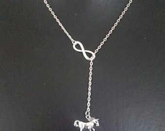 Infinity Horse Necklace,  Silvertone