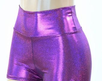 Fuchsia Sparkly Jewel Holographic High Waist Booty Shorts Rave Clubwear Festival -151538