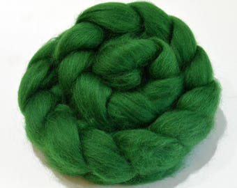 Shetland Wool Combed Top - Green - Conservation Breed - 100 grams