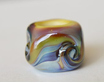 Unique Handmade Lampwork Glass European Charm Bead with Silver Foil - SRA - Fits all charm bracelets - Silver Core Options
