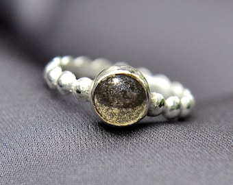 Pyrite Ring, Sterling Silver Stacking Ring with Pyrite Cabochon, Fool's Gold Ring, Bridesmaid Gift