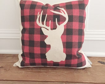 Buffalo Plaid stag pillow cover