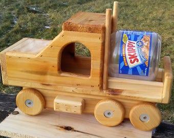 Semi truck table top, handmade, Skippy jar squirrel feeder,  Cedar wood, TBNUP