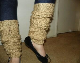 Oatmeal Beige Leg Warmers Over the Knee Made to keep you nice and Warm Hand Crochet