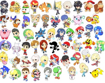 Choose from all 58 Characters! - Super Super Smash Bros. Art Stickers