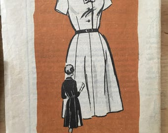 "Vintage 1960's mail order Anne Adams 4507 Shirt dress Size 14 1/2 Bust 35"""