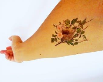 nest temporary tattoo / vintage temporary tattoo / vintage nest tattoo / delicate tattoo / colorful tattoo