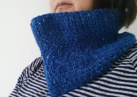 Cable knit cowl: original design. Handknit in Irish wool. Blue Aran Tweed. Seamless neckwarmer. Made in Ireland. Unique scarf. Aran scarf.