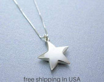 Sterling Silver Star Necklace, FREE SHIPPING, Celestial Jewelry, Shining Star Charm, Falling Star, Puffy Star, Five Point Shiny Star Gift