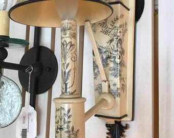 Vintage Style Midcentury French Country Scrimshaw Toile Sconce by Jeanne Reed