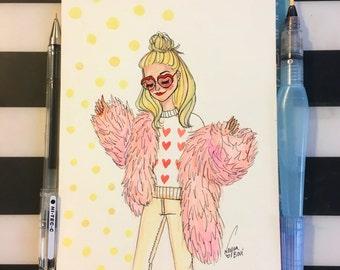 """Rosé faux fur print 5X7"""""""