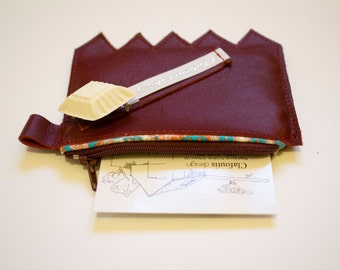 Wallet burgundy smooth leather - made in France, by Clafoutisdesign