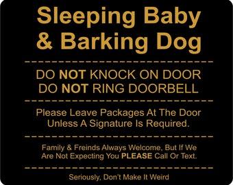 No Soliciting Sign, Door Knockers, Funny Door Sign, Sleeping Baby, Barking Dog
