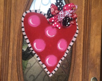 Pink/red polka dot heart door hanger