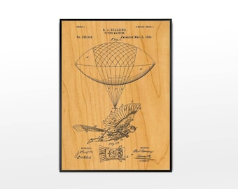 FRAMED Flying Machine Patent Print on Birch