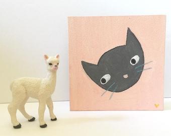 tiny original art cat painting illustration small 4 inches