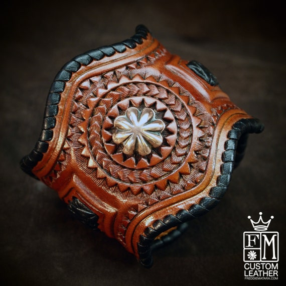 Leather Cuff Bracelet, tooled, braided formed with copper conchos!  made for YOU in New York by Freddie Matara