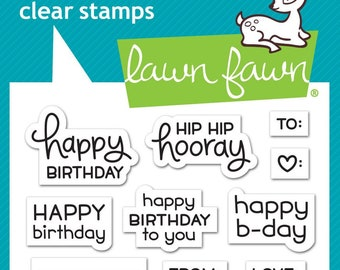 Lawn Fawn Tiny Tag Sayings: Birthday Photopolymer Clear Stamp Set, Scrapbooking/Stamping/Paper Crafts