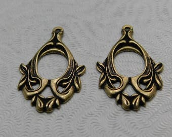 LuxeOrnaments Oxidized Brass Filigree Pendant (Qty 2) 28x15mm F-2693-1-B