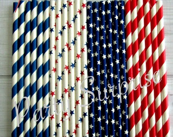 Patriotic Straws Red White Blue Stars and Stripes American 4th of July Military First Responder Birthday Strong Paper Straws