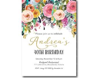 Sweet 16 birthday invitation 16th birthday invitation 40th birthday invitation floral birthday invitation watercolour 1st 2nd 40th 50th 60th 70th 80th printable invitation 3062 filmwisefo