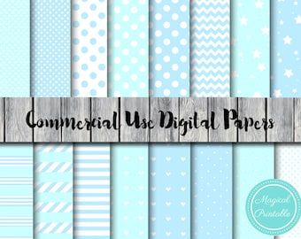 Baby Blue Digital Papers, Winter Blue Digital Paper, Download Digital Paper, Commercial Use, Scrapbook Digital Papers, Background, DP17