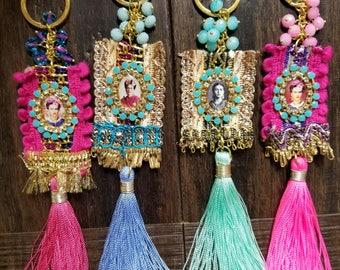 Hand-made Scapular style Frida Kahlo Keychain.