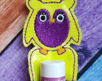 Owl Glitter Vinyl Lip Balm Holder, Christmas Stocking Stuffer, Lip Balm Holder, Gift, Birthday