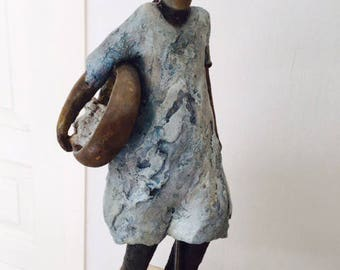 Indian woman in the Desert Wind sculpture / Terra cotta blue patina aged light top 31 x 16