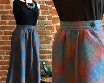Vintage 1970's Preppy Plaid A-line Wool Skirt, Size Small