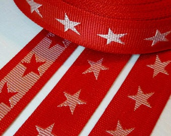 1 m strap, handle bag 45mm red with white stars - tied double sided