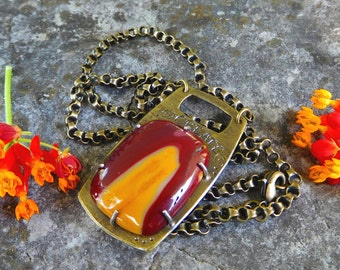 Mookaite necklace | jasper pendant | Artisan stone necklace | Mookaite jewelry | metalwork necklace | brass stone pendant | Jasper jewelry