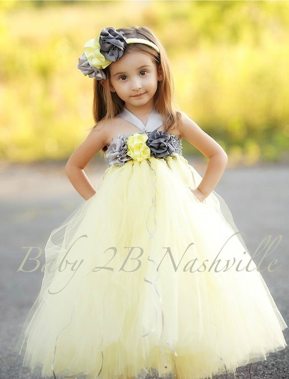 Yellow Dress Wedding Dress Flower Girl Dress Tutu Dress Tulle