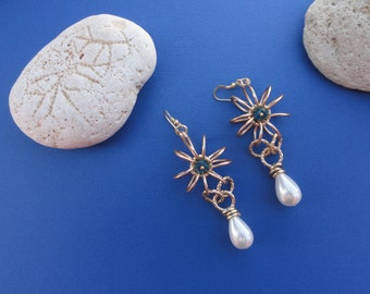 Wire and bead drop earrings