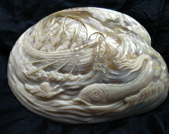 Judaica.Large cameo handcarved on a mother of pearl shell.Prophet Ionah and the Whale.Old Jaffa.