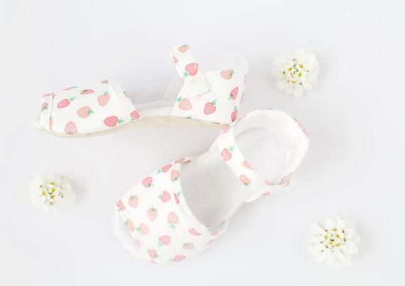 strawberry summer sandals. baby girls crib shoes. baby shower gift