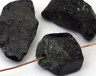 3 pcs black tourmaline beads, large freeform nugget slice semiprecious stone