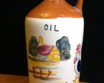 Vintage 1950's Hand Fired Ceramic Oil Urn / Pitcher