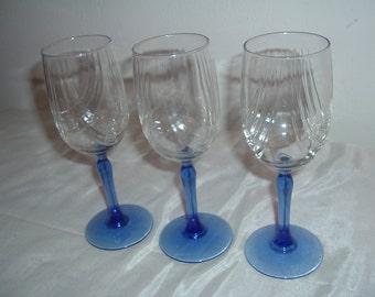 Cobalt Blue Stemmed Crystal Glasses, Crystal Glasses, Glassware, Stemware, Barware, Drinkware, Wine Glasses,