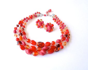 1960s Art Glass Bead Necklace & Earrings.  vintage costume jewelry set