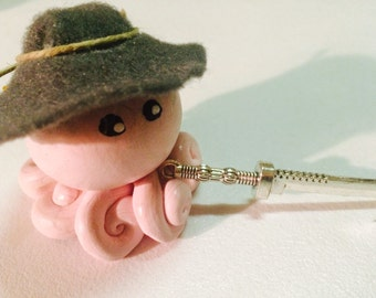 Little Zombie Hunter Octopus in Pink and Gray Swirl with Gray Felt Hat Choose Your Weapon