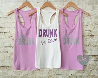 Bridesmaid Tank Tops. Just Drunk Tanks. Bride Tank Top. Bachelorette Tank Top.Drunk in love Tank. Just Pregnant. Bridal Party Tanks.