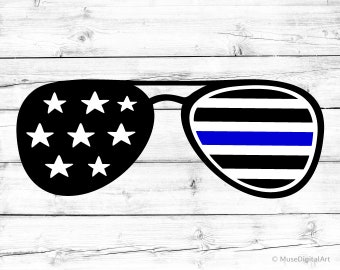 Thin Blue Line American Flag Svg Sunglasses Svg Blue Lives Matter Svg Police Officer Svg US Flag Png US Flag Svg for Cricut and Silhouette