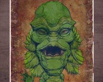 Creature from the Black Lagoon Universal Monster MINI Art Print by award winning artist Brady Stoehr