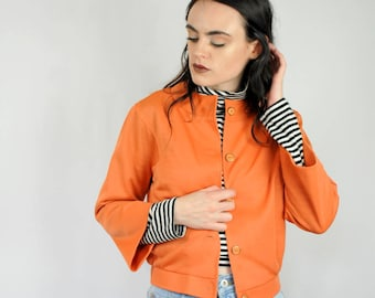 Creamsicle orange mock neck cropped jacket with buttons 1970s 70s VINTAGE