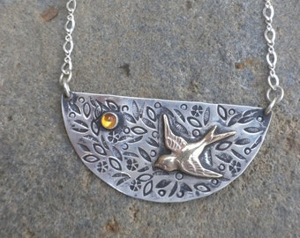 Sweet Pendant with Swallow and Citrine, Sterling Silver, Pendant, Dark Citrine, Honey Colored, Brass Swallow, Flowers, Leaves, Oxidized