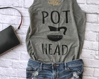 coffee shirt - pot head shirt - coffee graphic tee - coffee lover gift - coffee tank tops